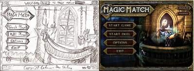 Szkic koncepcyjny menu gry i efekt końcowy.