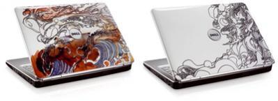"""Dell Inspiron 1525 w nowej limitowanej serii stylizowanych klapek ekranu: """"Sea Sky"""" i """"Bunch O Surfers""""."""