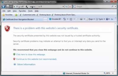Przeglądarka powinna ostrzegać użytkownika przed potencjalnie niebezpiecznymi witrynami i niewłaściwymi certyfikatami