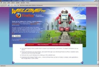 Okno Mozilli Firefox 3 RC1 w Windows Viście