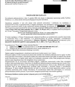 Pismo z wezwaniem do zapłaty odszkodowania wysyłane przez kancelarię prawną Obig internautom (źródło: www.napisy.info)