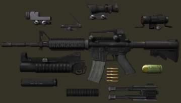 Karabin M4A1 i jego  gadżetami
