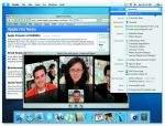 Mac OS X 10.4. Na pierwszym planie technologia Spotlight. W tle iChat i wideokonferencja z trzema użytkownikami